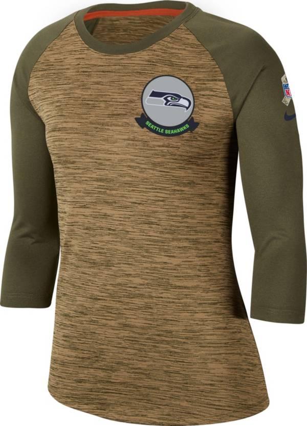 Nike Women's Salute to Service Seattle Seahawks Dri-FIT Beige Raglan Shirt product image
