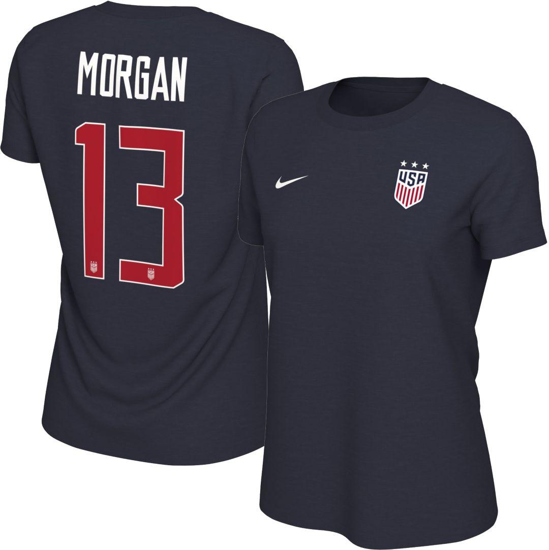 322a37a9b303 Nike Women's USA Soccer Alex Morgan #13 Navy Player T-Shirt