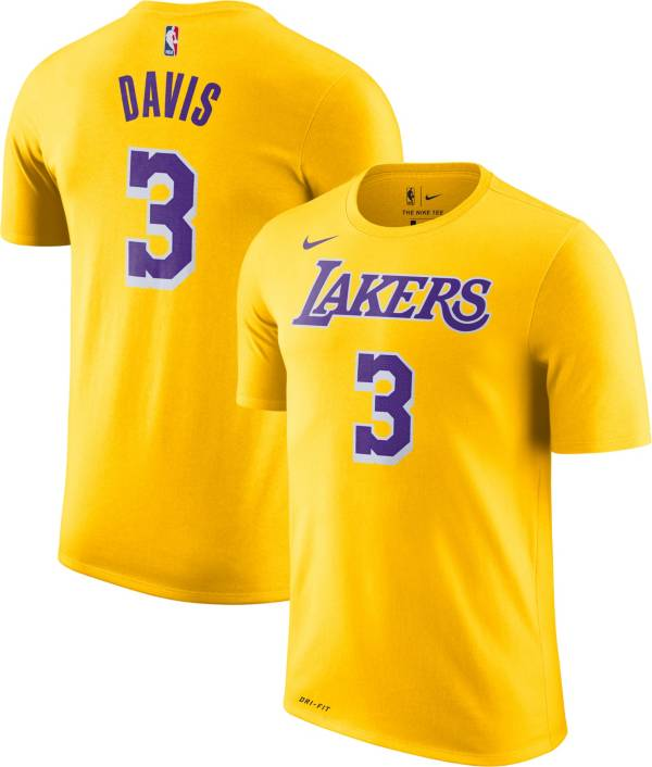 Nike Youth Los Angeles Lakers Anthony Davis #3 Dri-FIT Gold T-Shirt