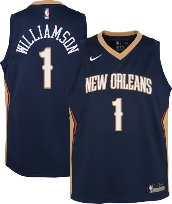 Nike Youth New Orleans Pelicans Zion Williamson 1 Navy Dri Fit Icon Swingman Jersey Dick S Sporting Goods