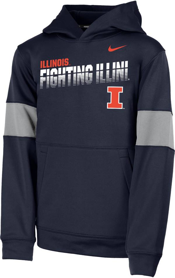 Nike Youth Illinois Fighting Illini Blue Therma Football Sideline Pullover Hoodie product image