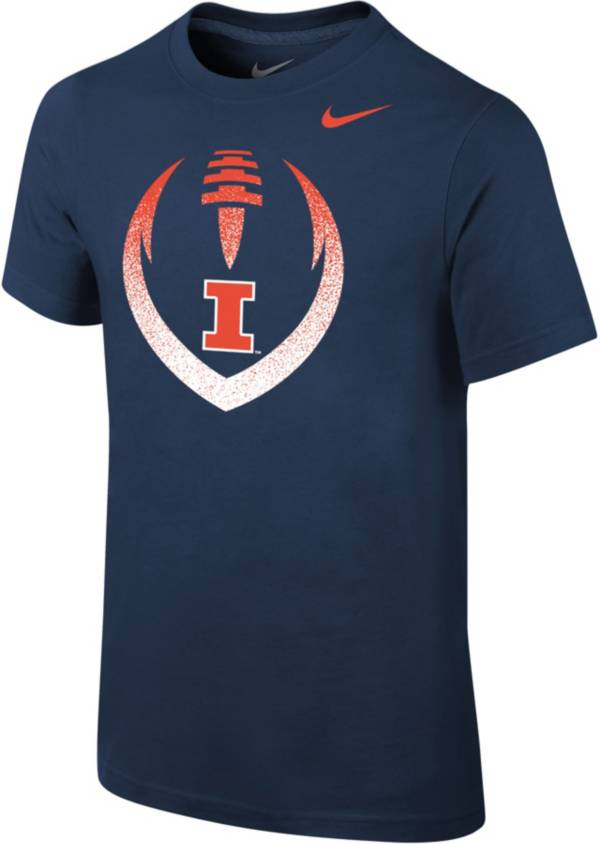 Nike Youth Illinois Fighting Illini Blue Cotton Football Icon T-Shirt product image