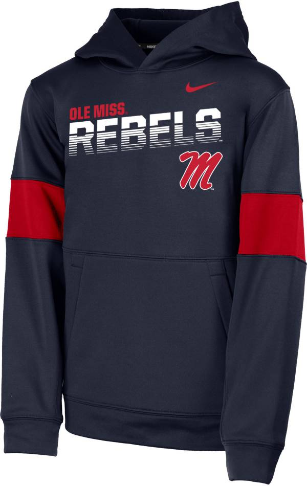 Nike Youth Ole Miss Rebels Blue Therma Football Sideline Pullover Hoodie product image