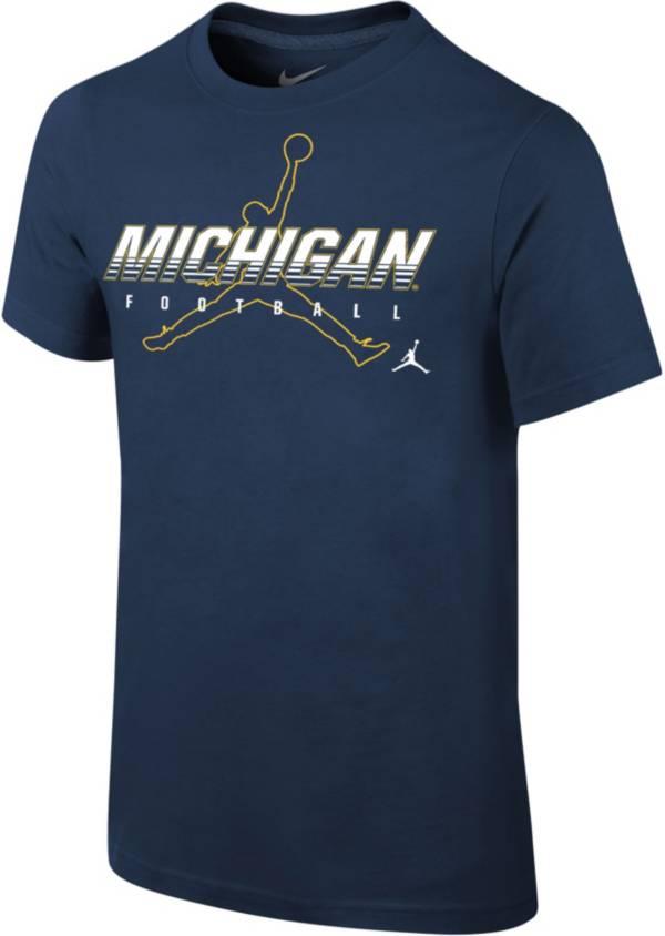 Jordan Youth Michigan Wolverines Blue Football Dri-FIT Cotton Facility T-Shirt product image