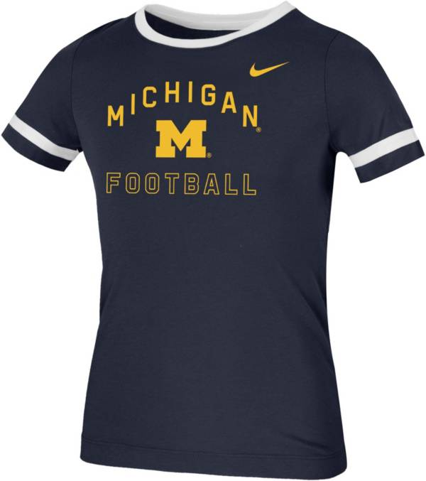 Nike Youth Michigan Wolverines Blue Fan Ringer Football T-Shirt product image