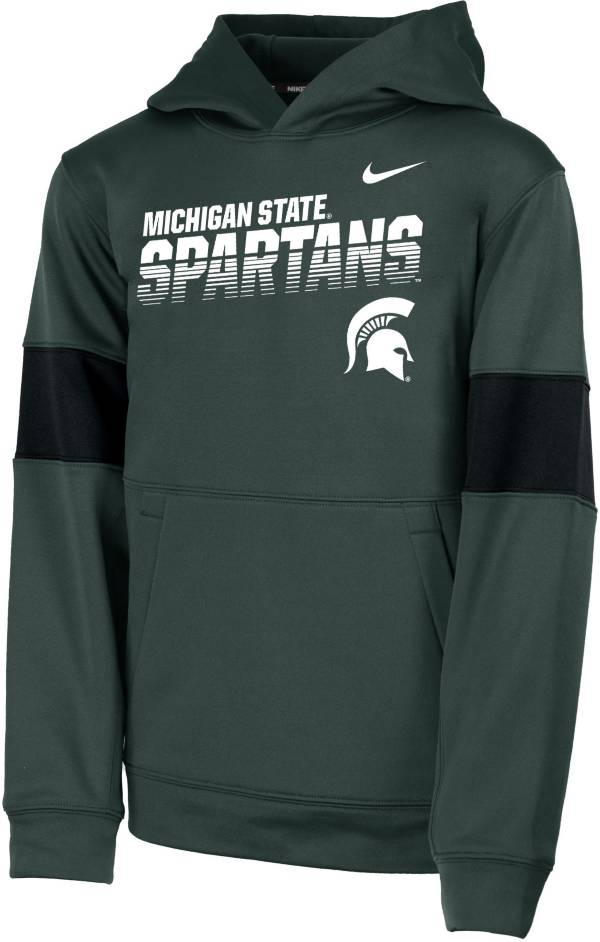 Nike Youth Michigan State Spartans Green Therma Football Sideline Pullover Hoodie product image