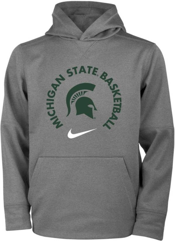 Nike Youth Michigan State Spartans Grey Therma Basketball Hoodie product image