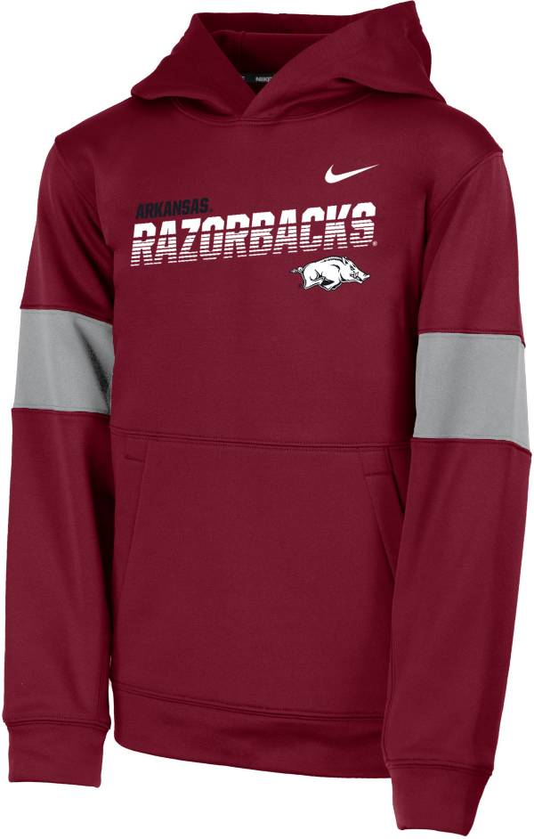 Nike Youth Arkansas Razorbacks Cardinal Therma Football Sideline Pullover Hoodie product image