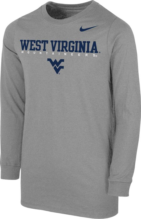 Nike Youth West Virginia Mountaineers Grey Core Cotton Long Sleeve T-Shirt product image