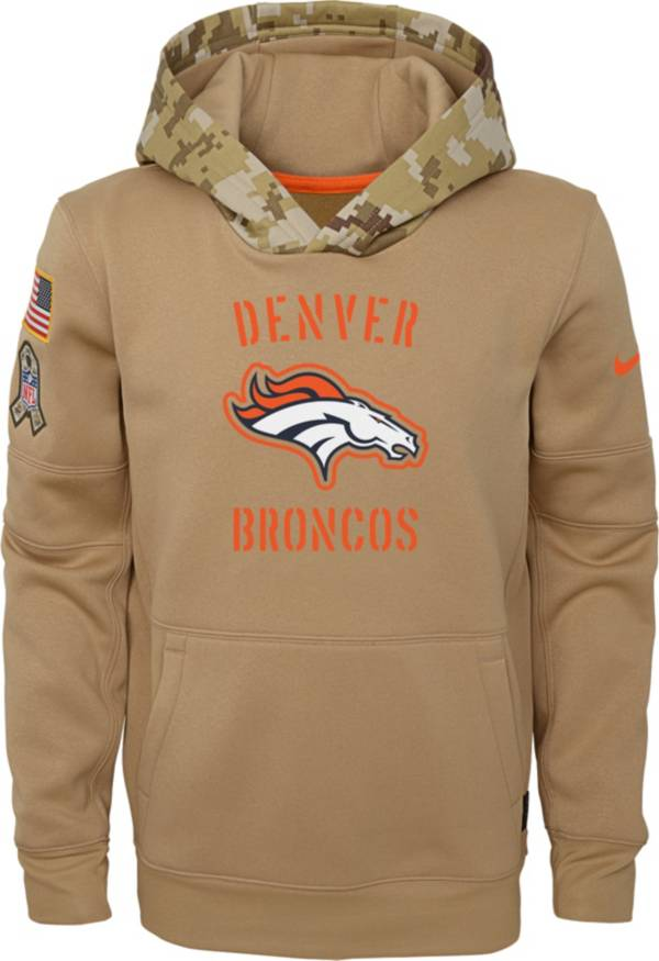 Nike Youth Salute to Service Denver Broncos Therma-FIT Beige Camo Hoodie product image