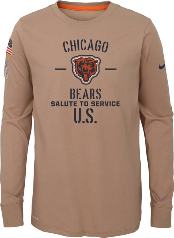Nike Youth Salute to Service Chicago Bears Dri-FIT Beige Long Sleeve Shirt product image