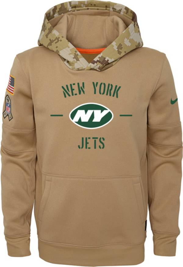 Nike Youth Salute to Service New York Jets Therma-FIT Beige Camo Hoodie product image