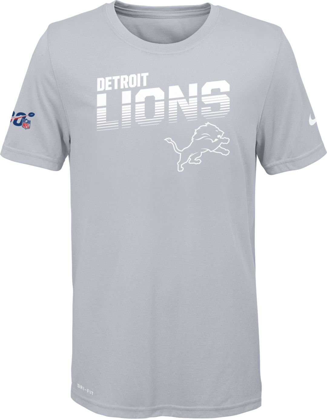 4ce977dc Nike Youth Detroit Lions 100th Sideline Legend Performance White T-Shirt