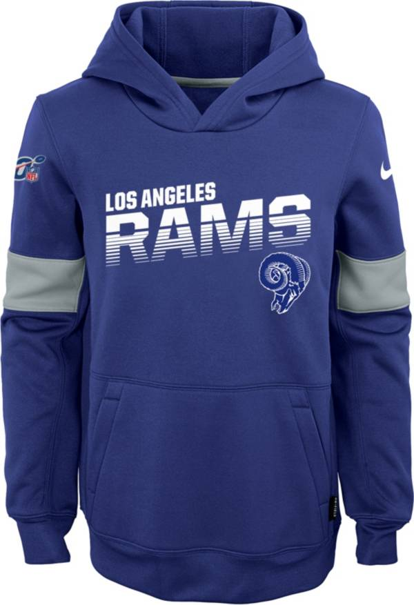 Nike Youth Los Angeles Rams 100th Sideline Therma-FIT Navy Pullover Hoodie product image
