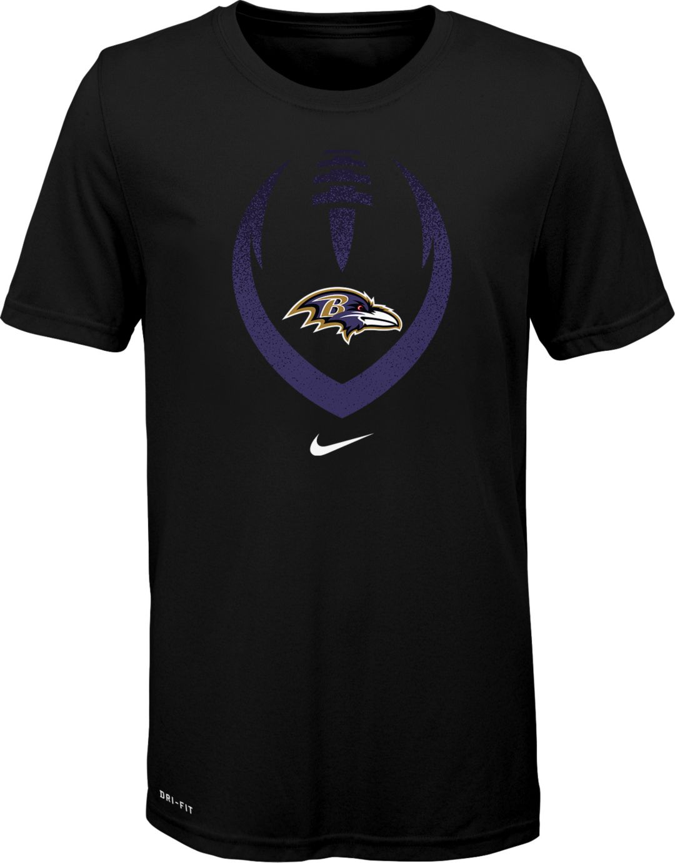 9f7ab8cf Nike Youth Baltimore Ravens Icon Performance Black T-Shirt. noImageFound. 1