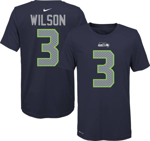 Nike Youth Seattle Seahawks Russell Wilson #3 Logo Navy T-Shirt