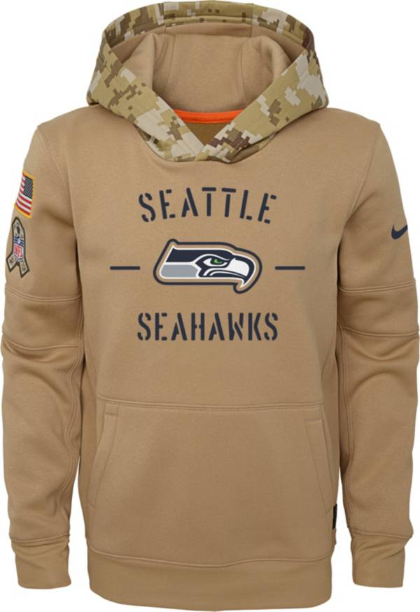 Nike Youth Salute to Service Seattle Seahawks Therma-FIT Beige Camo Hoodie product image
