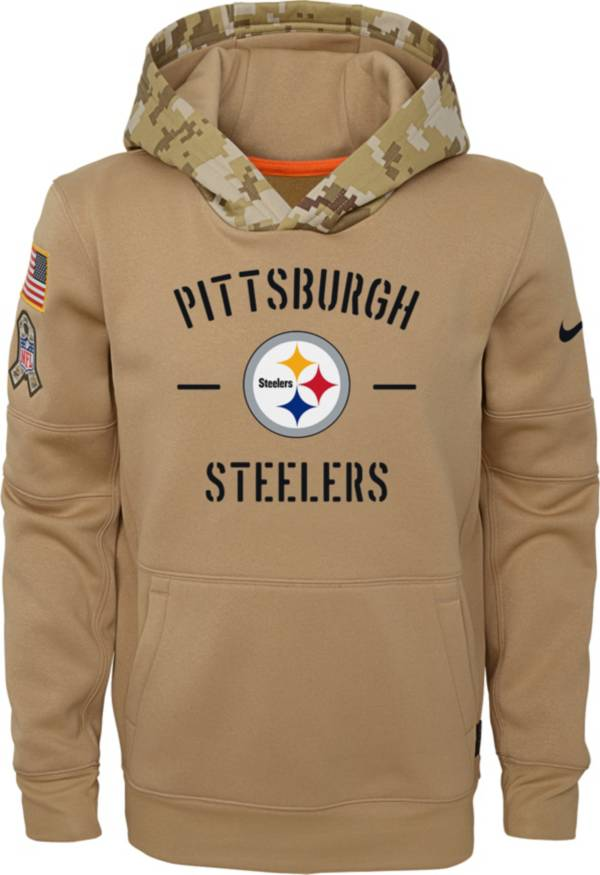 Nike Youth Salute to Service Pittsburgh Steelers Therma-FIT Beige Camo Hoodie product image