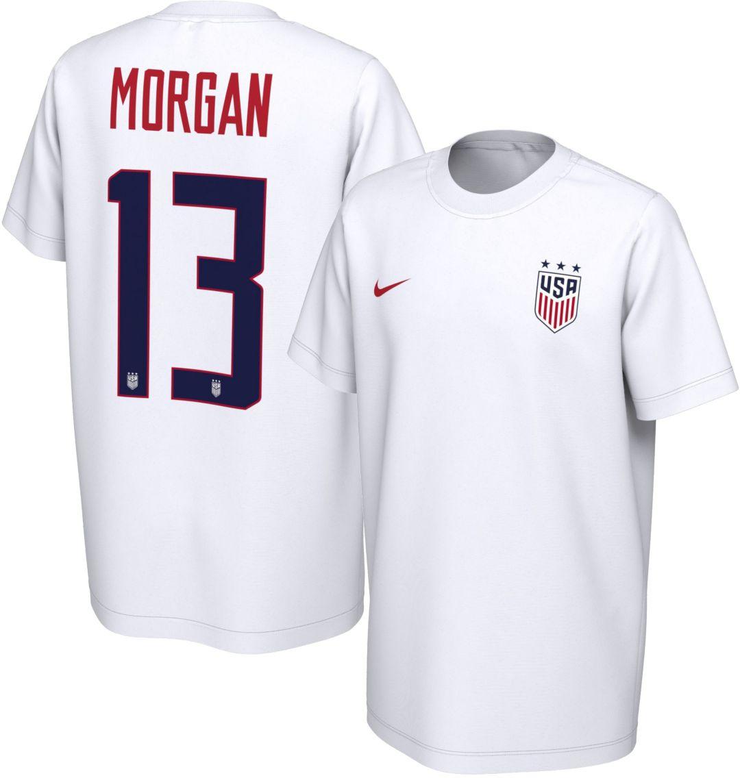 5f008c05186d4 Nike Youth USA Soccer Alex Morgan #13 White Player T-Shirt. noImageFound.  Previous