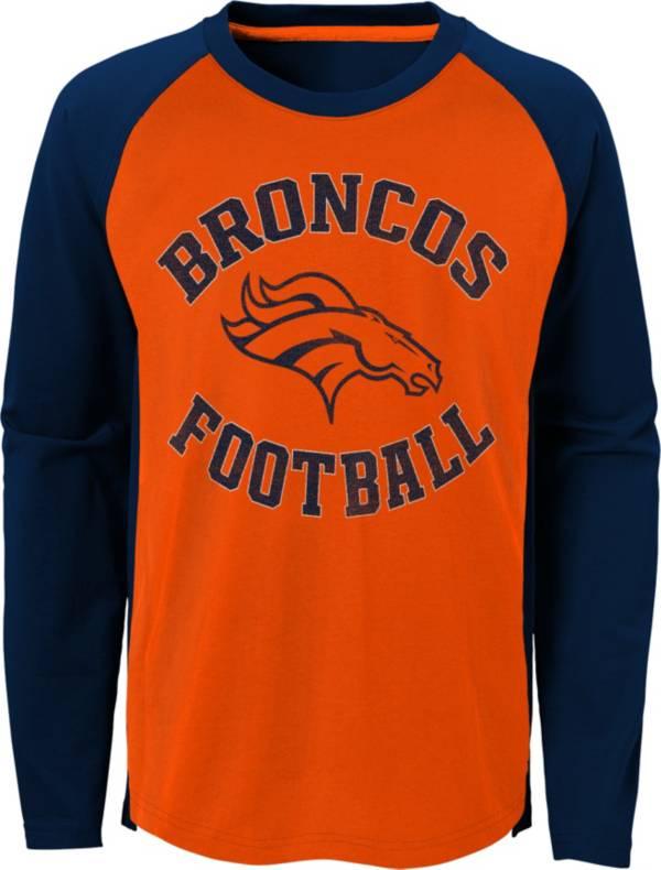 NFL Team Apparel Youth Denver Broncos Air Raid Long Sleeve Orange Shirt product image