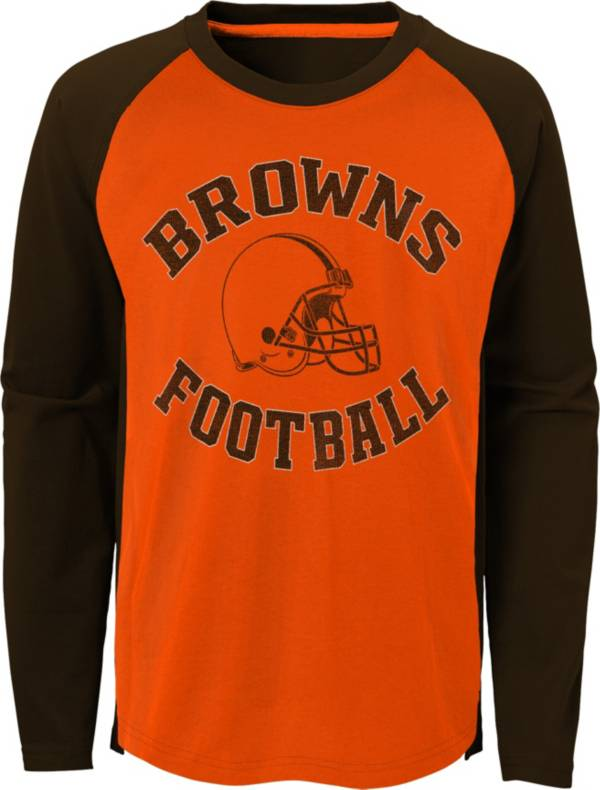 NFL Team Apparel Youth Cleveland Browns Air Raid Long Sleeve Brown Shirt product image