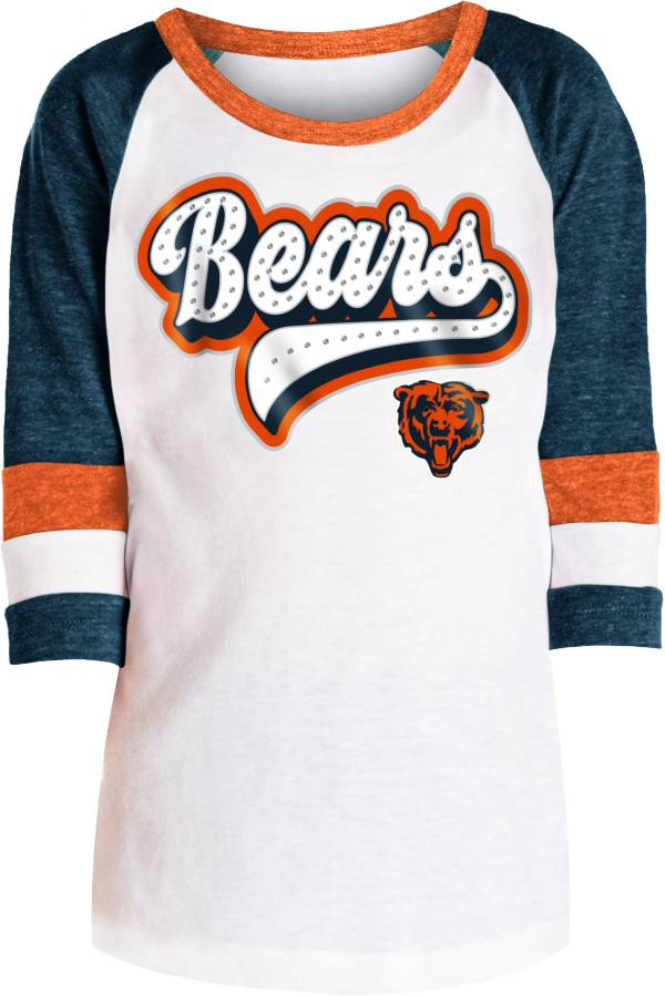NFL Team Apparel Girls' Chicago Bears Rhinestone White Raglan T-Shirt product image