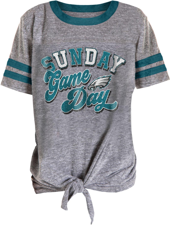 179fc3a8 NFL Team Apparel Girls' Philadelphia Eagles Tie Grey T-Shirt