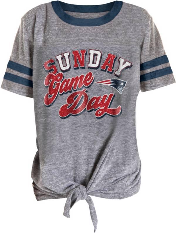 NFL Team Apparel Girls' New England Patriots Tie Grey T-Shirt product image