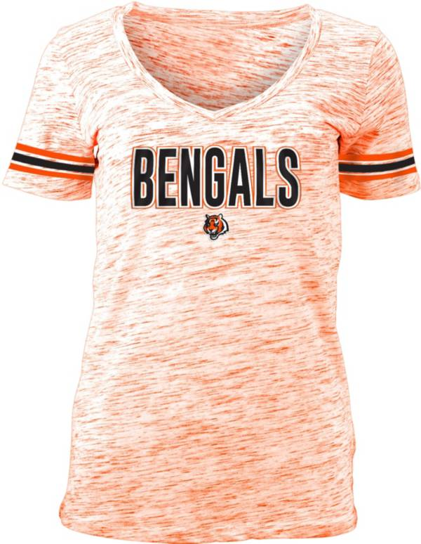 NFL Team Apparel Women's Cincinnati Bengals Orange Space Dye V-Neck T-Shirt product image