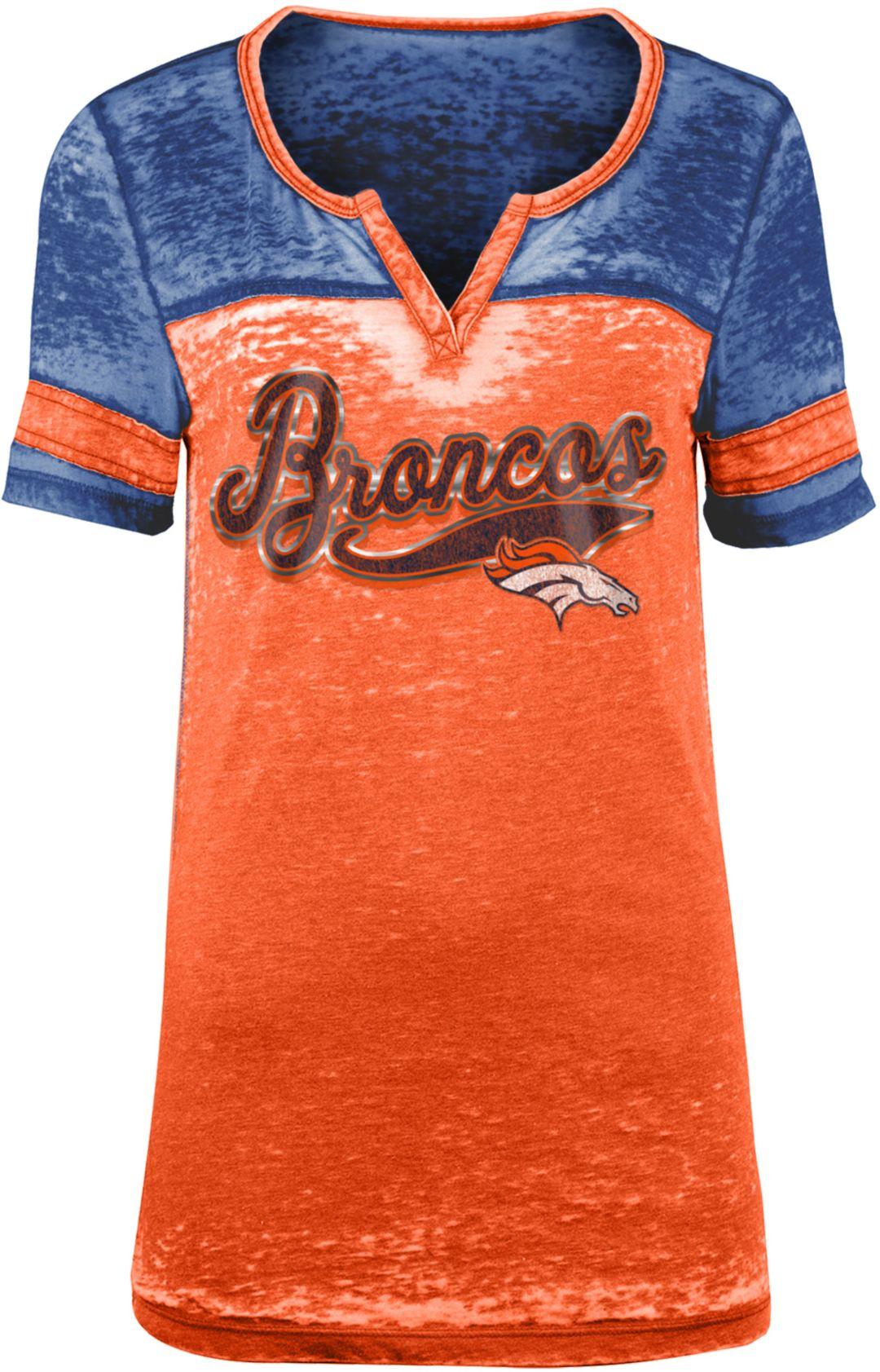 d814ae53 NFL Team Apparel Women's Denver Broncos Foil Burnout Orange T-Shirt