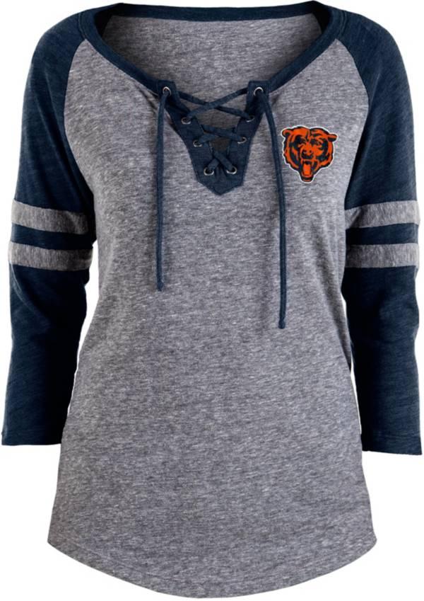 NFL Team Apparel Women's Chicago Bears Trilace Grey Raglan Shirt product image