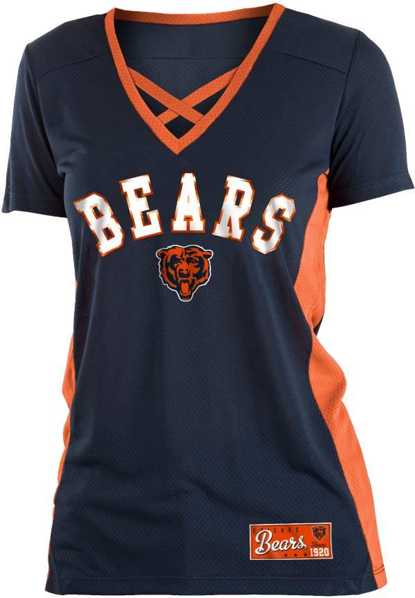 NFL Team Apparel Women's Chicago Bears Mesh X Navy T-Shirt product image