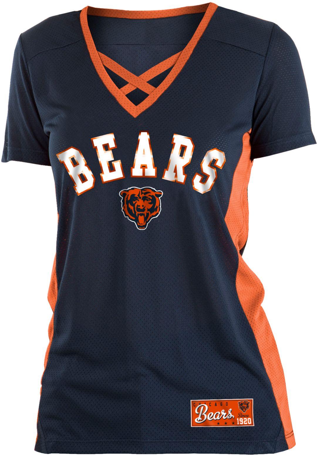 c49c5be1 NFL Team Apparel Women's Chicago Bears Mesh X Navy T-Shirt