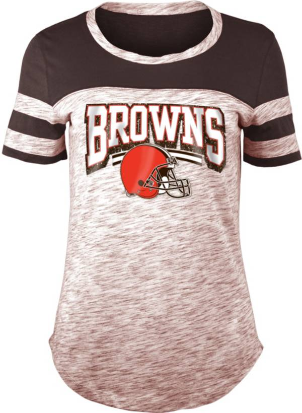 NFL Team Apparel Women's Cleveland Browns Space Dye Glitter Brown T-Shirt product image