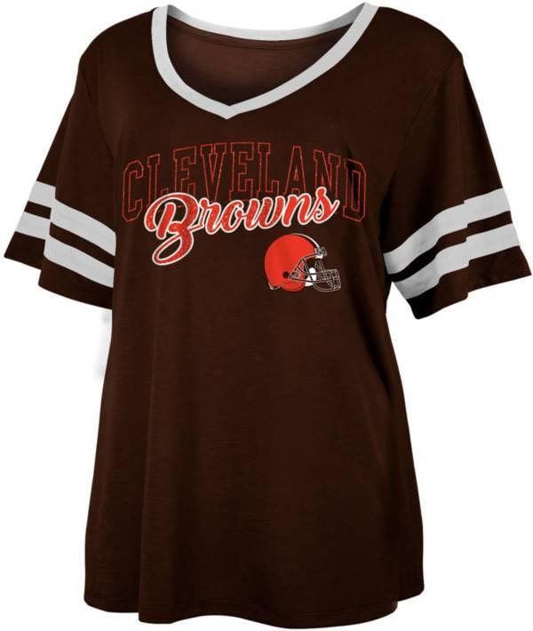 NFL Team Apparel Women's Cleveland Browns Slub Glitter T-Shirt product image