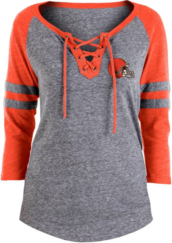 NFL Team Apparel Women's Cleveland Browns Trilace Grey Raglan Shirt product image