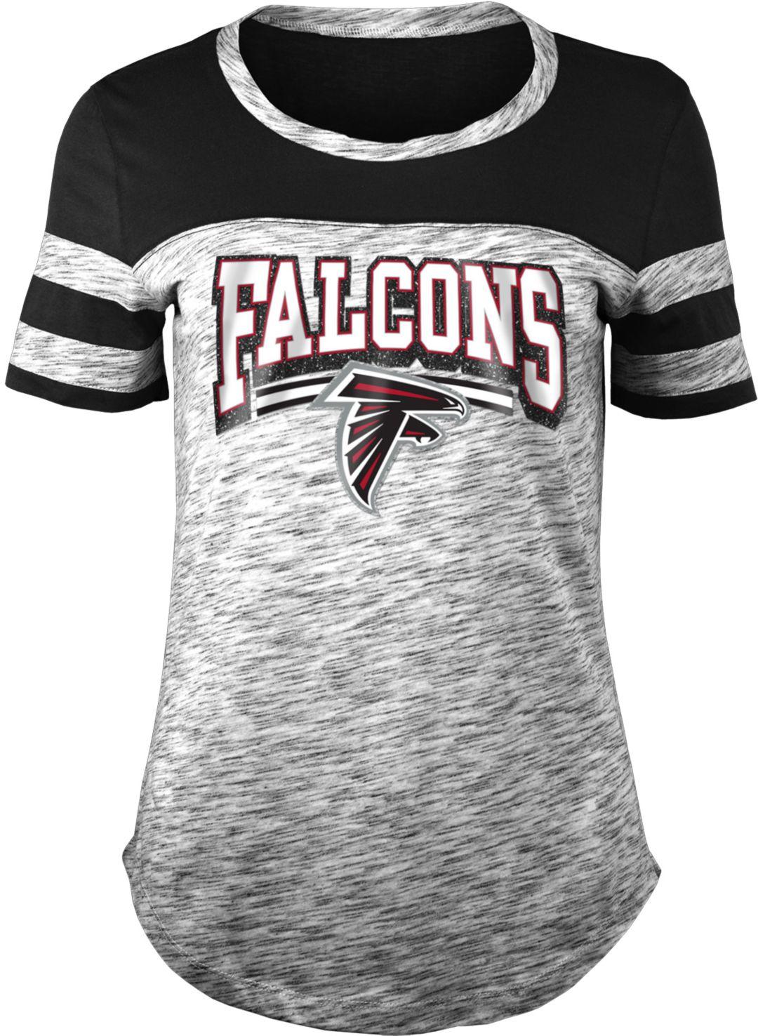 huge selection of 5f114 b9df9 NFL Team Apparel Women's Atlanta Falcons Space Dye Glitter Black T-Shirt