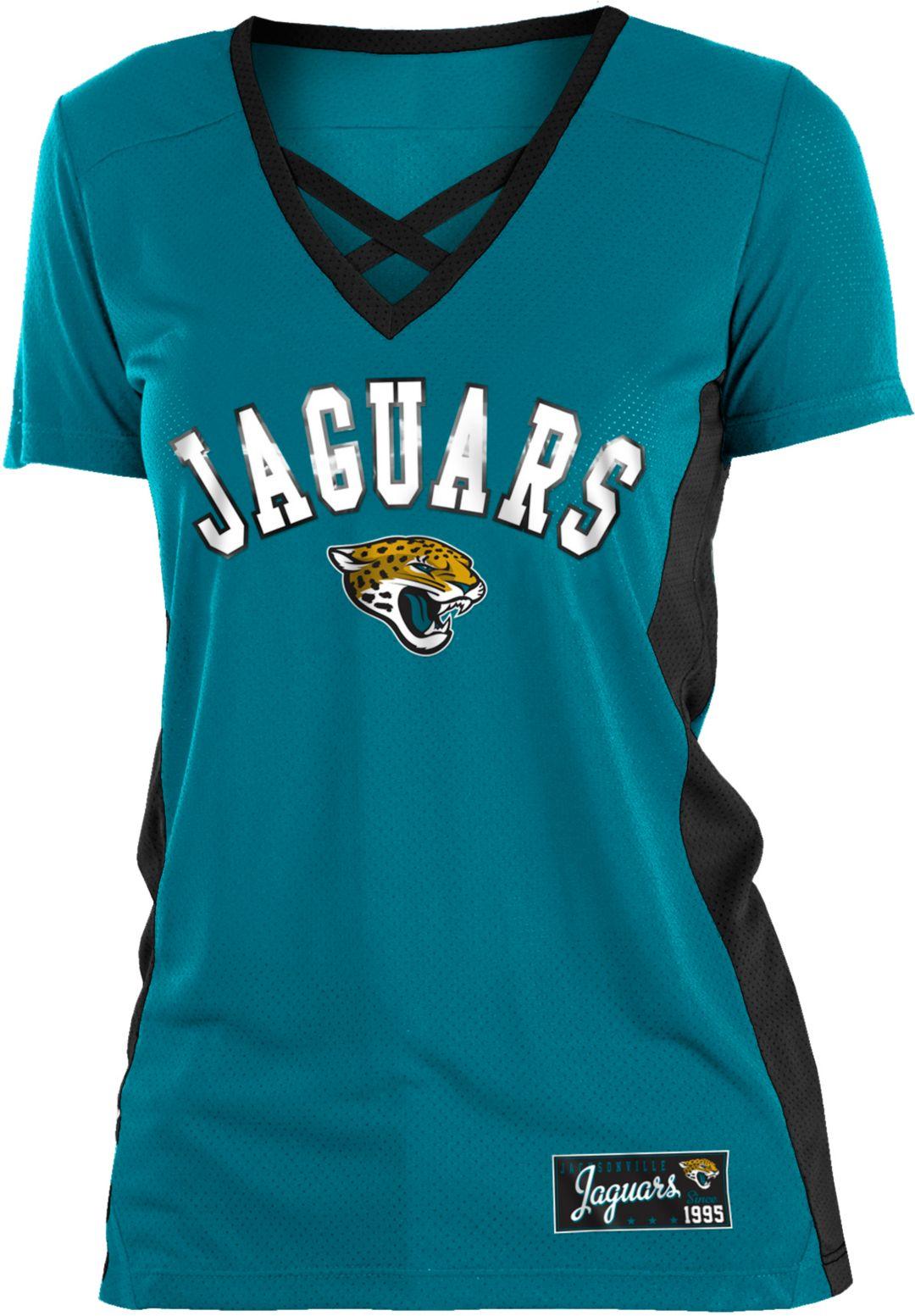 44237298 NFL Team Apparel Women's Jacksonville Jaguars Mesh X Teal T-Shirt