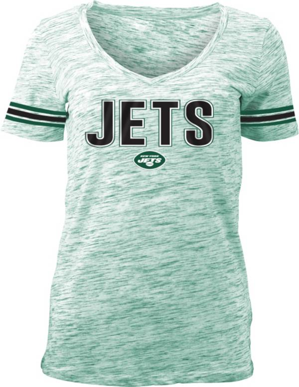 NFL Team Apparel Women's New York Jets Green Space Dye V-Neck T-Shirt product image