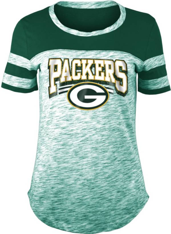 NFL Team Apparel Women's Green Bay Packers Space Dye Glitter Green T-Shirt product image