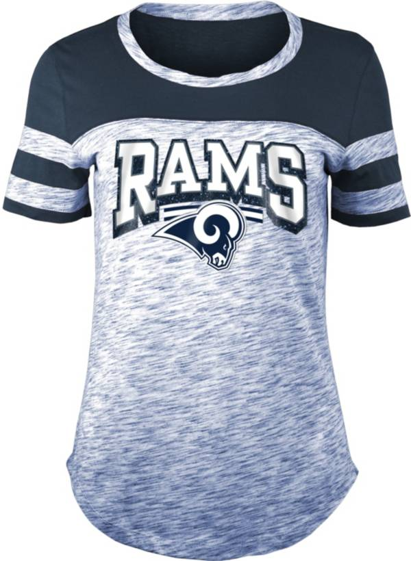 NFL Team Apparel Women's Los Angeles Rams Space Dye Glitter Navy T-Shirt product image