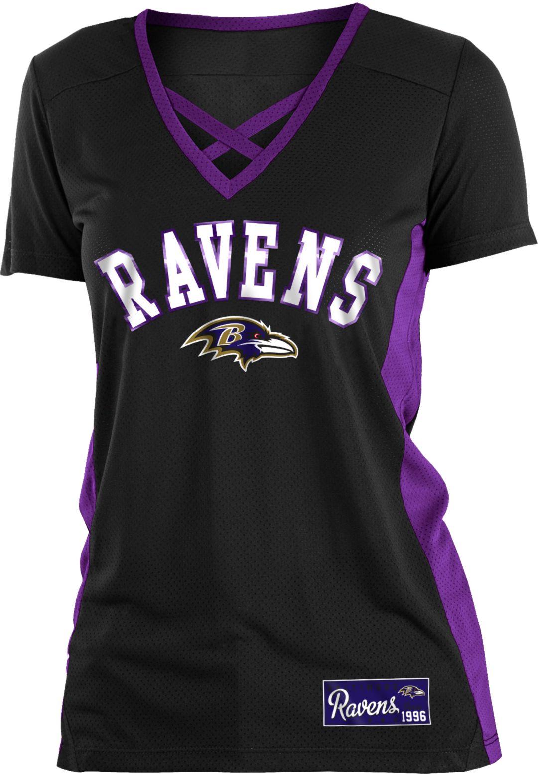 50516c91 NFL Team Apparel Women's Baltimore Ravens Mesh X Black T-Shirt