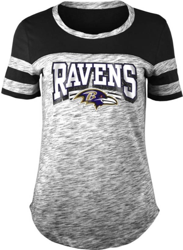 NFL Team Apparel Women's Baltimore Ravens Space Dye Glitter Black T-Shirt product image
