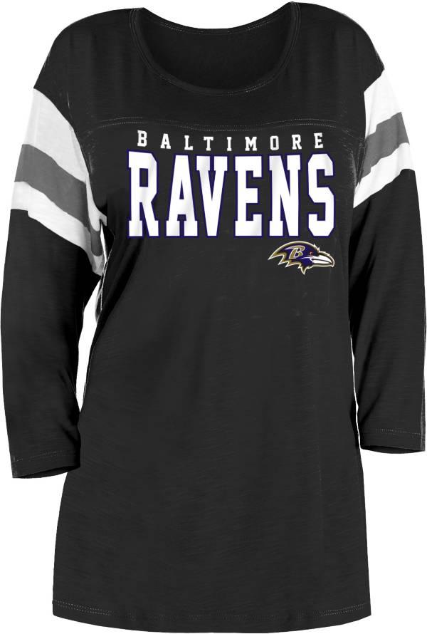 NFL Team Apparel Women's Baltimore Ravens Throwback Varsity Slub Black Three-Quarter Sleeve T-Shirt product image