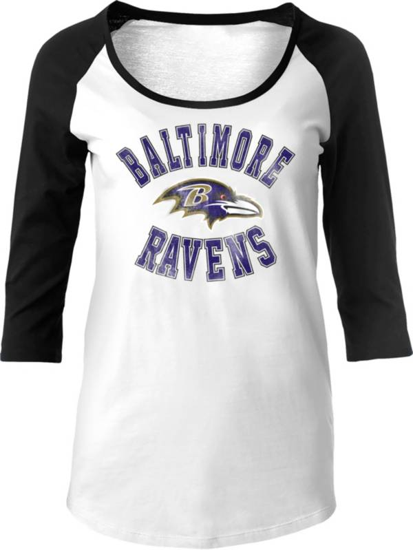 NFL Team Apparel Women's Baltimore Ravens Football White Raglan Shirt product image