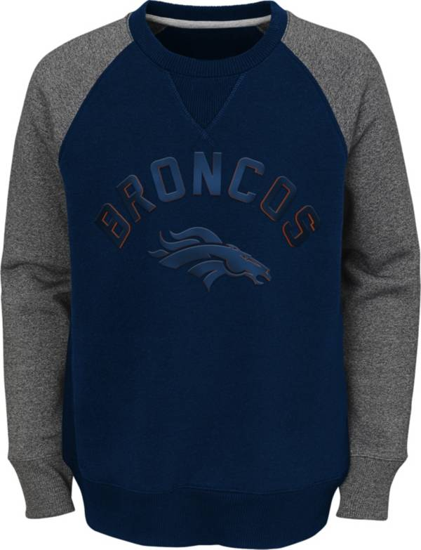 NFL Team Apparel Youth Denver Broncos Raglan Fleece Navy Crew product image