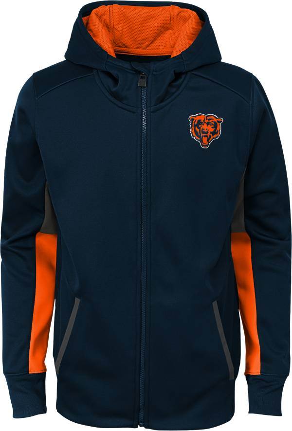 NFL Team Apparel Youth Chicago Bears Performance Navy Full-Zip Hoodie product image