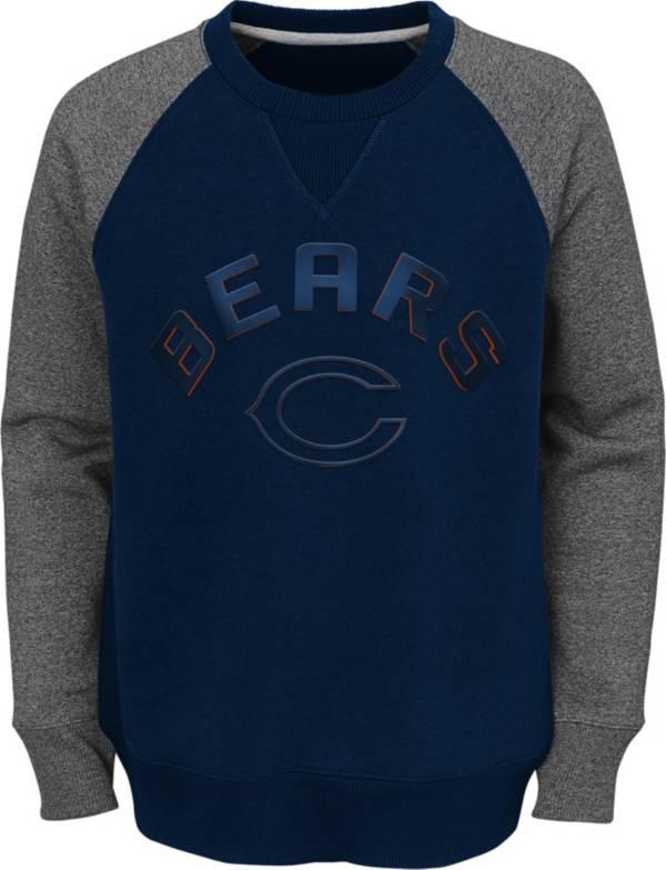 NFL Team Apparel Youth Chicago Bears Raglan Fleece Navy Crew product image