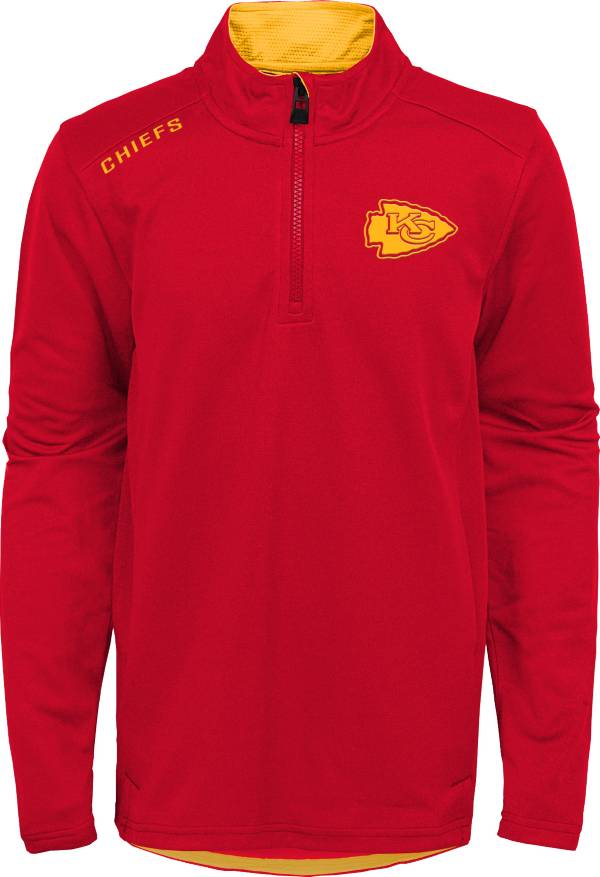 NFL Team Apparel Youth Kansas City Chiefs Unlock Red Quarter-Zip Pullover product image