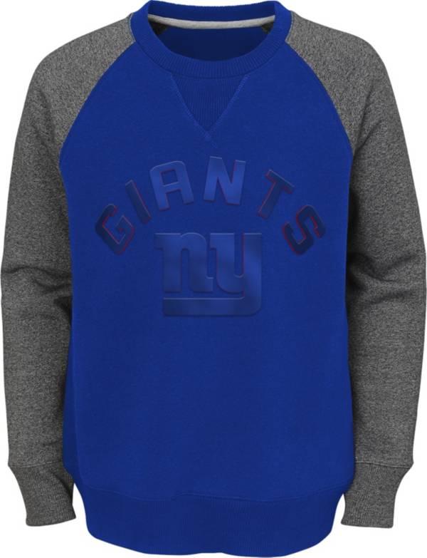 NFL Team Apparel Youth New York Giants Raglan Fleece Royal Crew product image